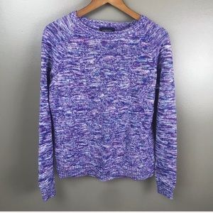 LANDS END Drifter Knit Pullover Sweater Purple